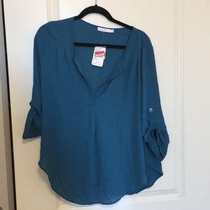 NWT teal split neck blouse
